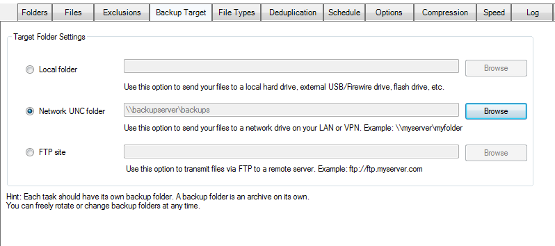 live backup of VHD and VHDX backup target