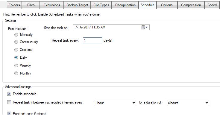 schedule hyper-v backup task