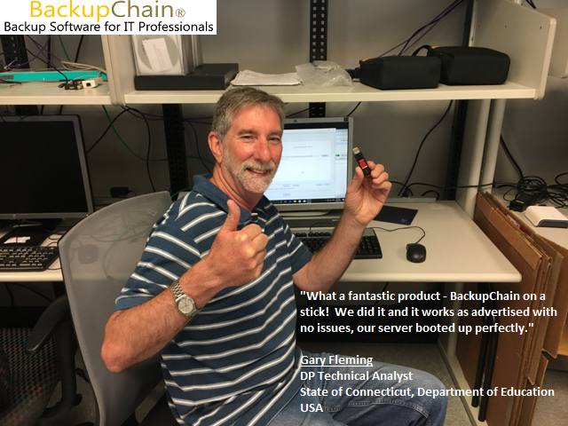 Gary Fleming, DP Technical Analyst, State of CT, Department of Education, 85+ Enterprise Servers with BackupChain installed (June 23, 2017)