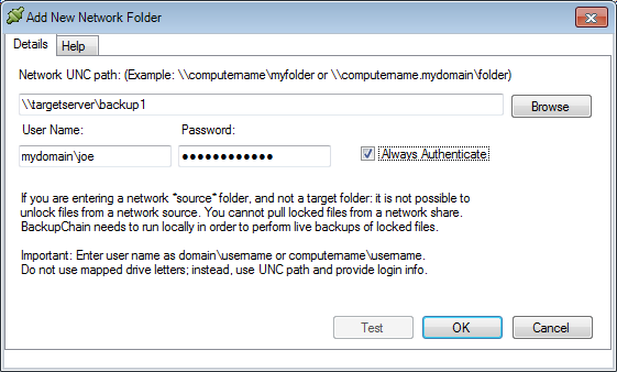 step 5, enter target network server details